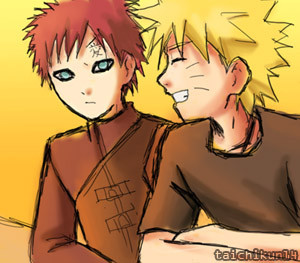 Gaara and Naruto talk by taichikun14
