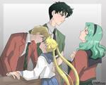 Haruka, Usagi, Mamoru, Michiru