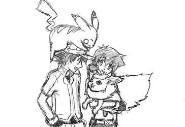 Satoshi, Sarha, Pikachu, Pylori sketch for Skydrew