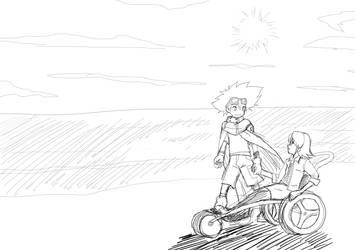 Taichi and Rei Saiba sketch for RMZero