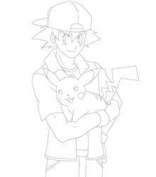 Ash and Pikachu lineart for yxa4evr by taichikun14