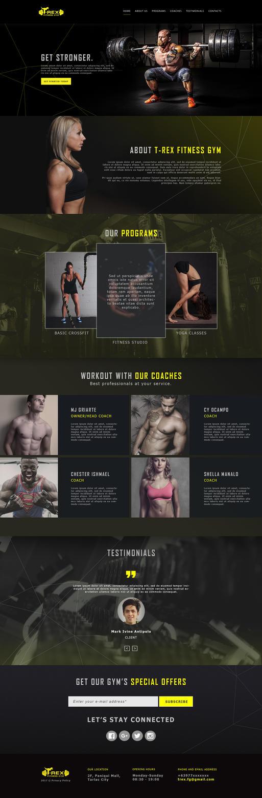 Web Design | T-rex Fitness Gym by haroldmanalo