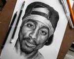 Tupac portrait sketch by Cleicha
