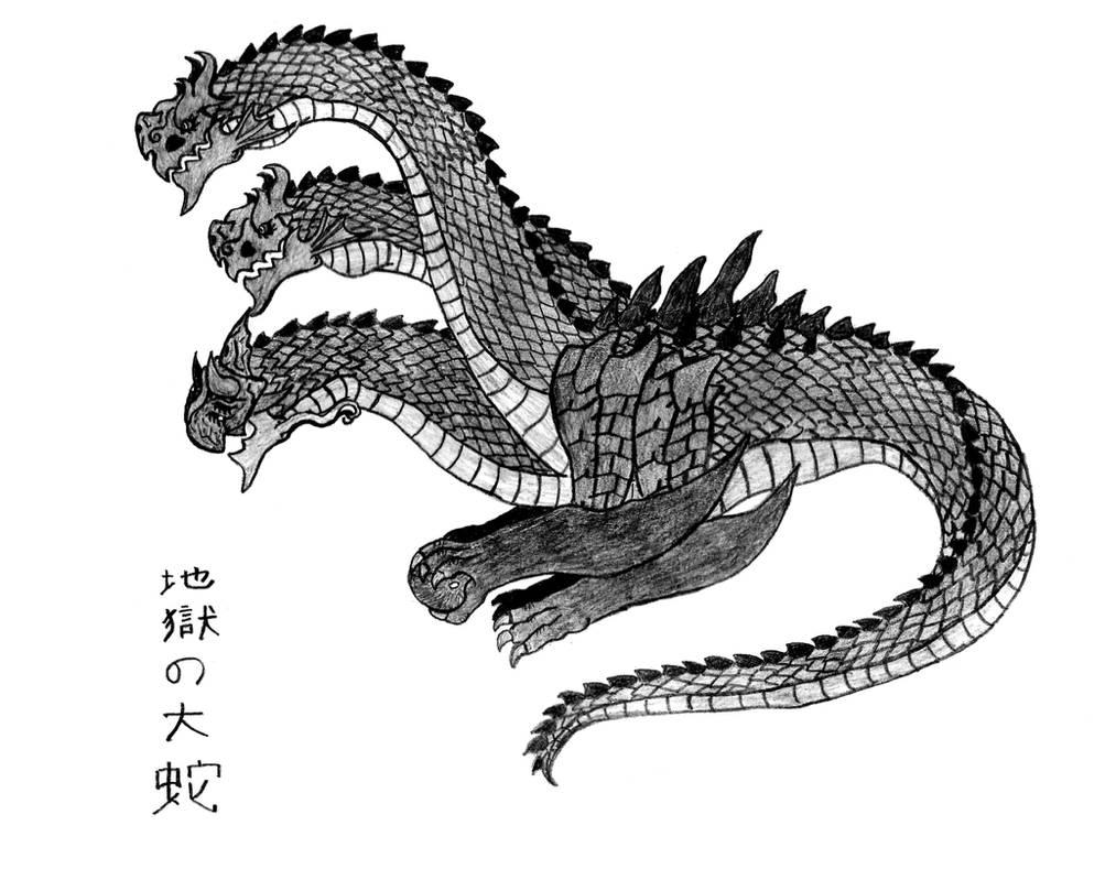 Jigoku-no-Orochi, Demon Dragon God (Sketch) by Ultima-the-RedWyrm on