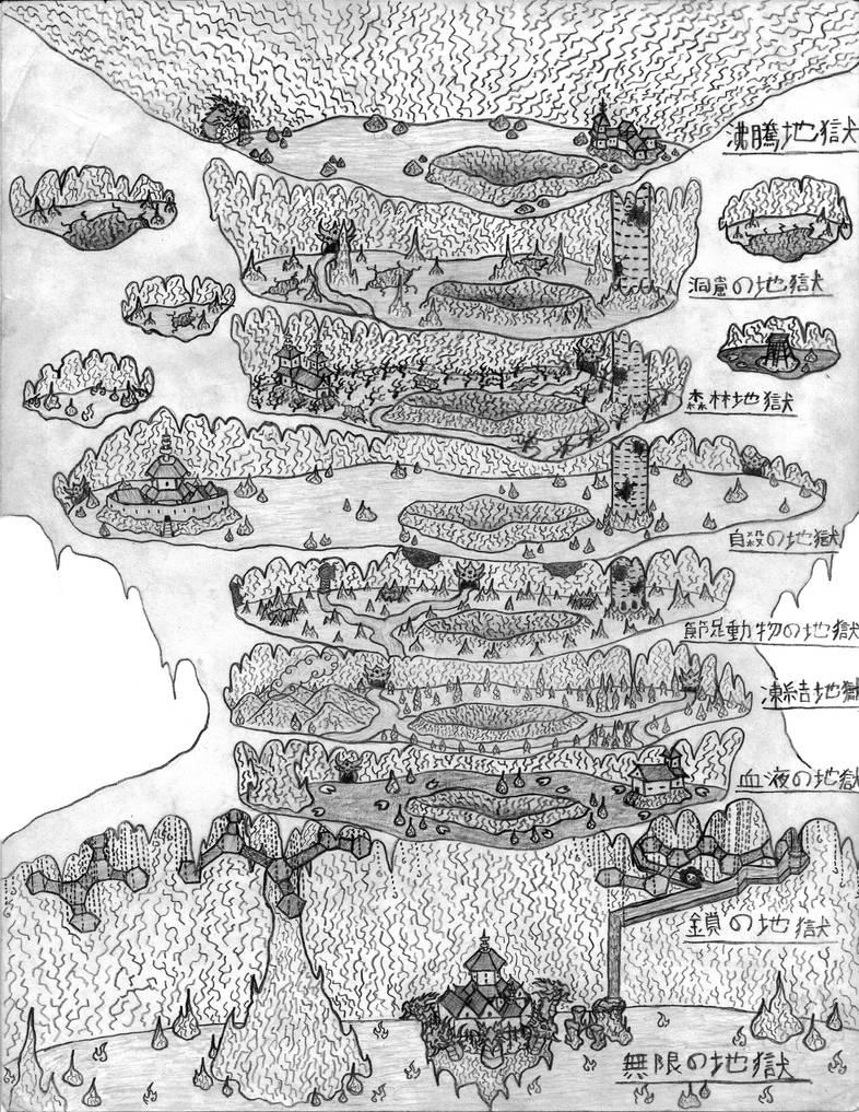 Jigoku, The Nine Hells (Map - Sketch by Ultima-the-RedWyrm