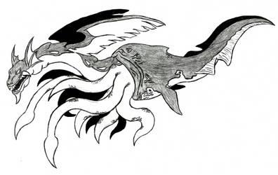 Slayers - Chimera - Half-Kraken Sea Serpent by Ultima-the-RedWyrm