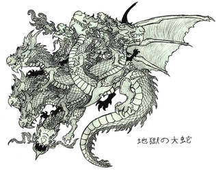 Jigoku no Orochi, The Serpent of Hell (Sketch) by Ultima-the-RedWyrm