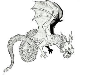 Oriental Wyvern (Sketch)  by Ultima-the-RedWyrm