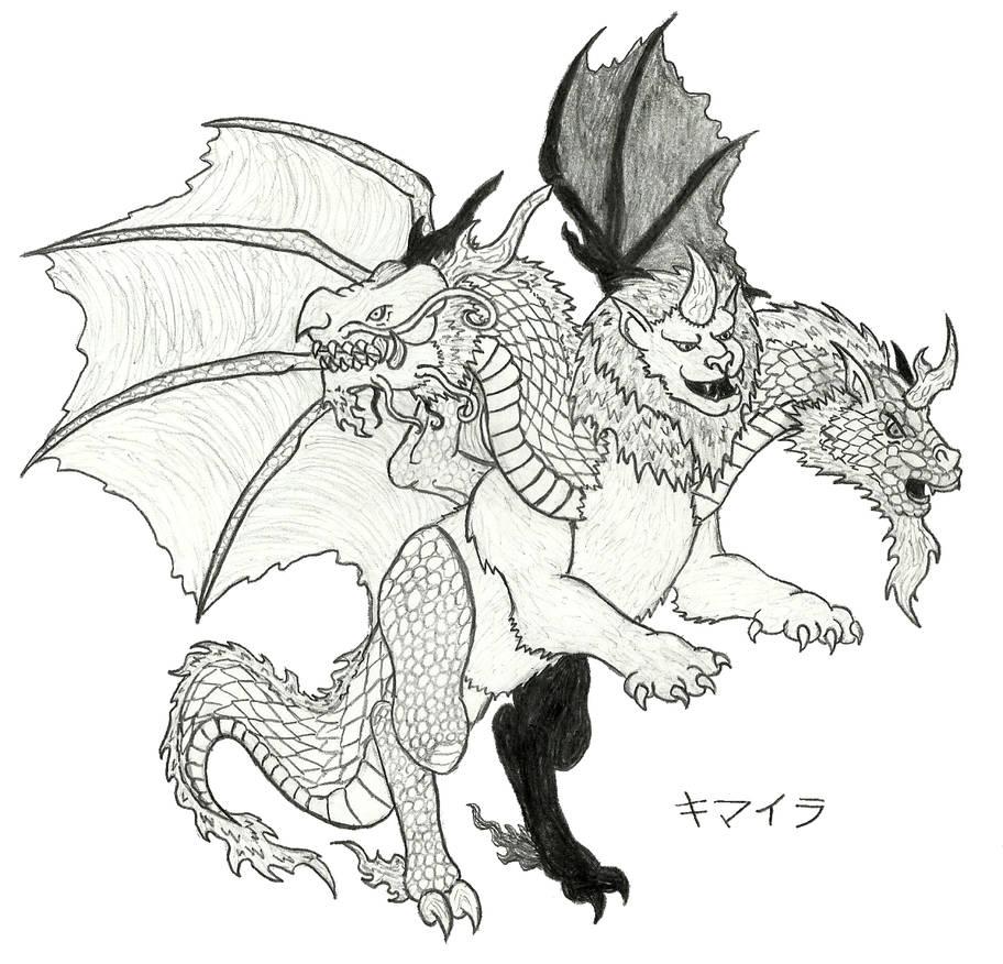 Oriental Chimera (Sketch 2) by Ultima-the-RedWyrm