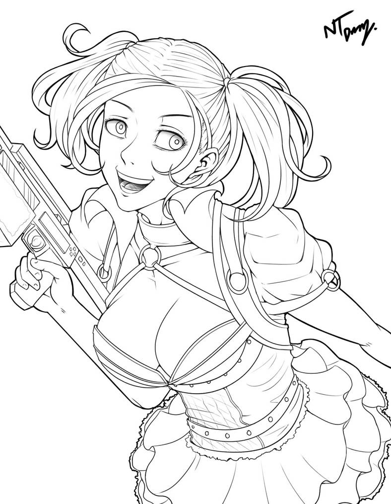 Harley Quinnoutline By Hibren On Deviantart