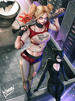 Harley quinn and Catwoman Fanart