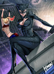 Catwoman and Harley quinn Fanart by Hibren