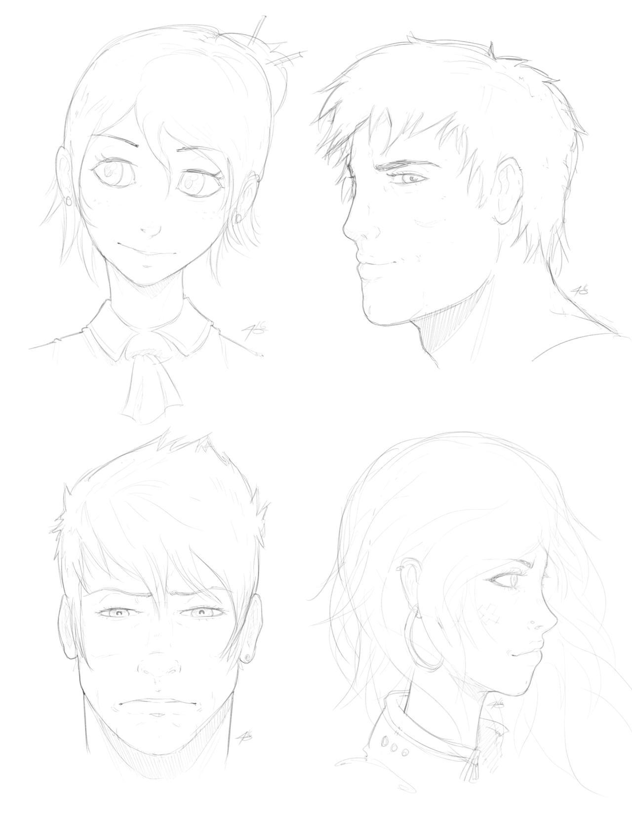Head Sketches x4 120716 by EzJedi