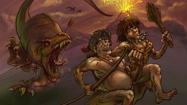 Man, Woman, and T Rex by akira337