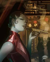 Girl in Latex Qipao