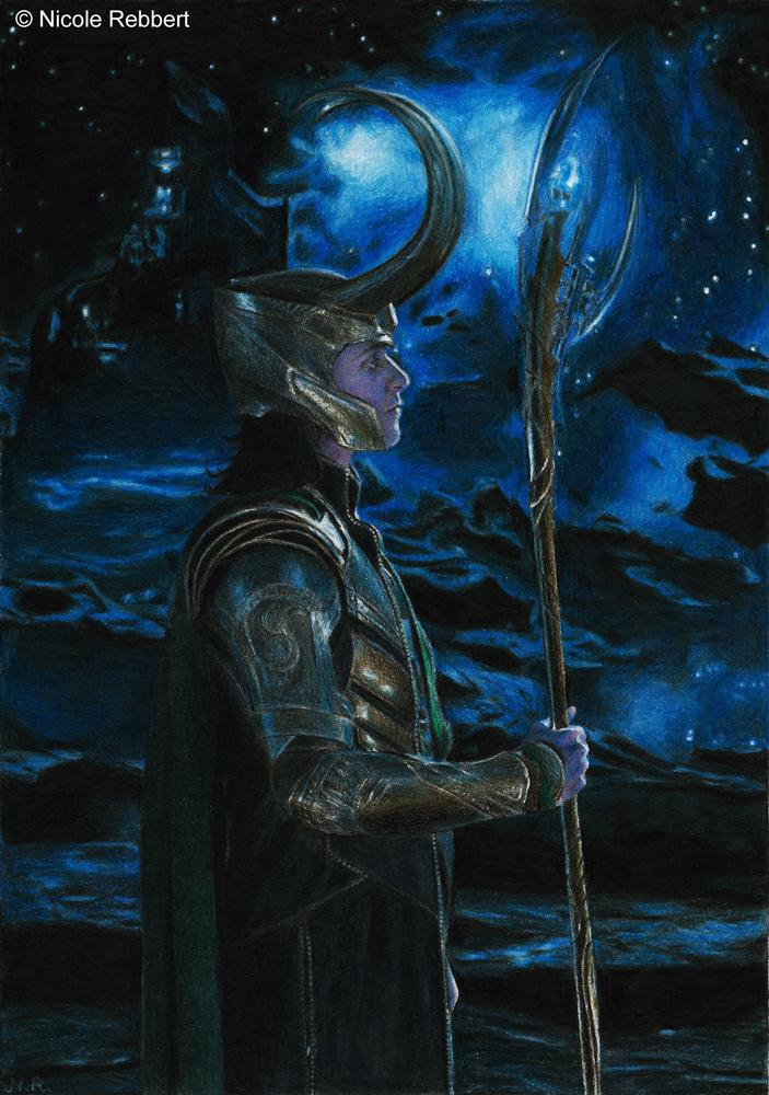 Loki of Asgard (colour pencils)