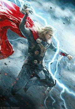 Thor - God of Thunder (mixed media)