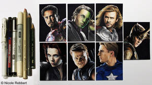 Avengers and Loki - sketch cards