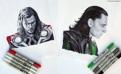 Thor and Loki (marker drawing) by Quelchii
