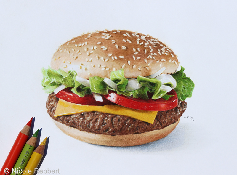 Burger drawing by Quelchii