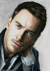 Michael Fassbender (mixed media) by Quelchii