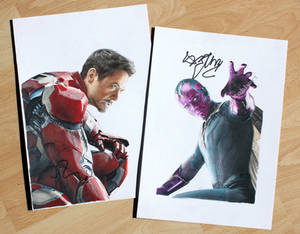 Iron Man and Vision (signed drawings)
