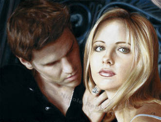 Buffy and Angel (drawing) by Quelchii