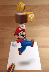 Super Mario - 3D drawing by Quelchii