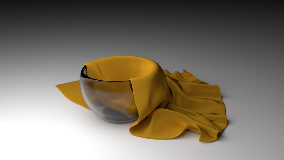 3D glass bowl and a brown cloth
