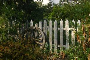 STOCK PHOTO fenced wheel by MaureenOlder