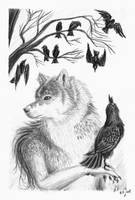 A Wolf And  His Ravens by BlackHunter