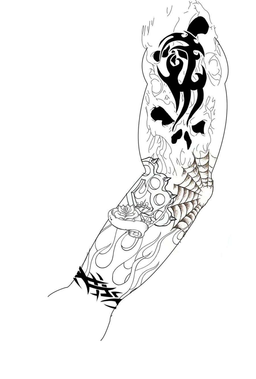 Tattoo Sleeve Stencils: Sleeve Tattoo Design By Guitar-Master-101 On DeviantArt