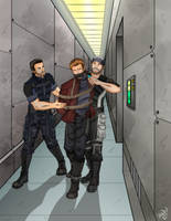 Captive Quill escorted by Joker and Kaidan by Carnath-gid