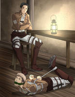 Hogtied and gagged Jean struggling at Marco's feet by Carnath-gid