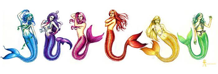 Rainbow Mermaids by MyWorld1