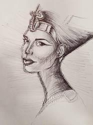 Nefertiti Sketch by MyWorld1