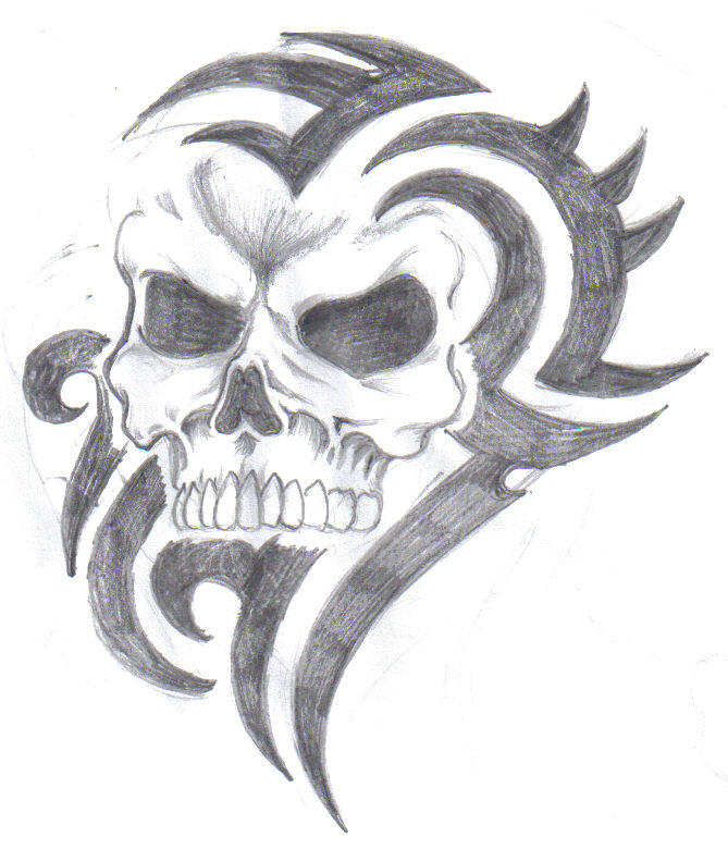 This is a picture of Sizzling Tribal Skull Drawing