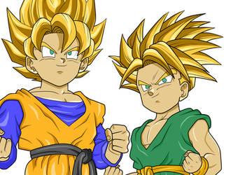 Goten and Trunks Super Saiyan by Loraxdude