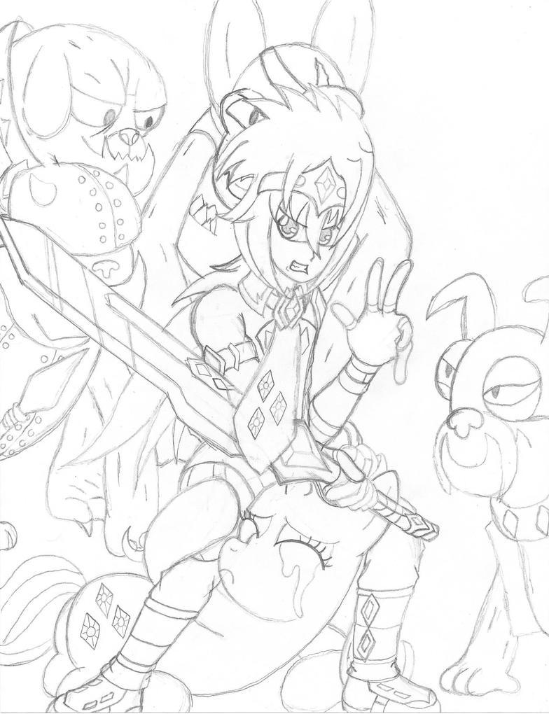 Knight saves damsel in distress (Sketch) by PiplupSTARSCommander