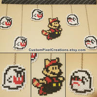 SMB 3 - Boos and Racoon Mario by CustomPixelCreations