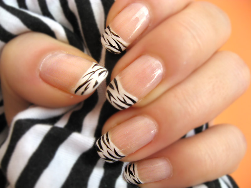 French Nails with Zebra Nail Designs