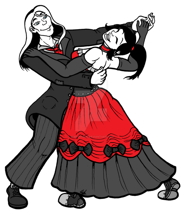 Commission: F'Nor and Arianhod Dancing by binkibonsai