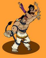 Sati vs Sakhmet - Playful on Patreon! by binkibonsai
