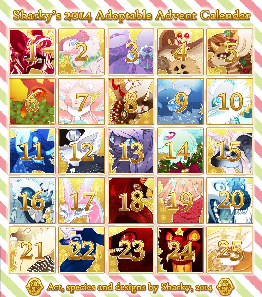 Sharky's 2014 Adoptable Advent Calendar [COMPLETE] by albinosharky