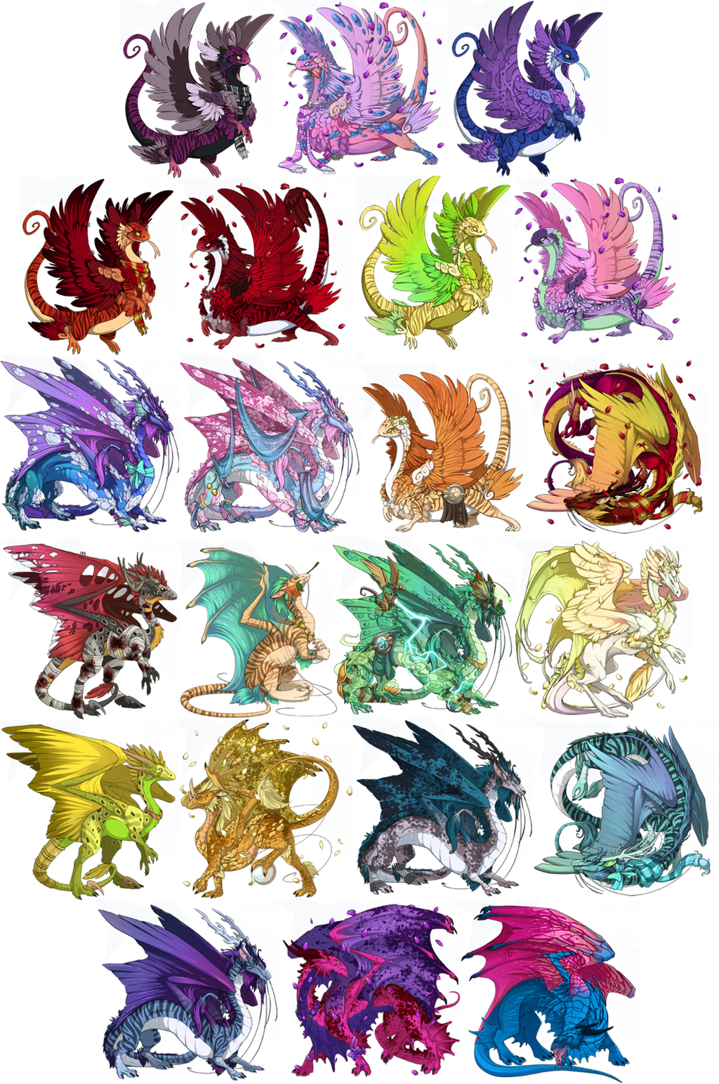 Dragon Lineup by albinosharky