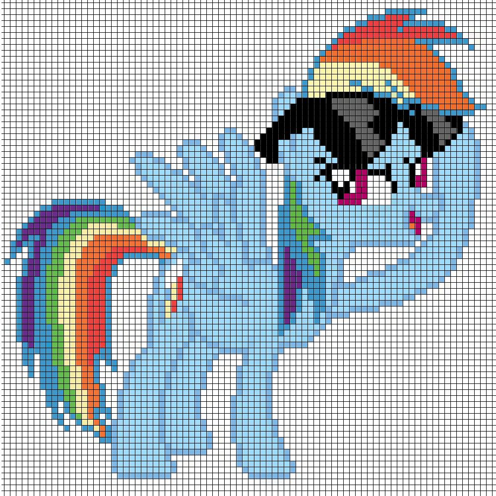 how to make minecraft pixel art templates - pixel art of rainbow dash template by captainpineapple96