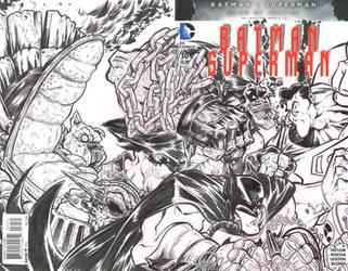 Batman Superman Sketch cover. by sosnw