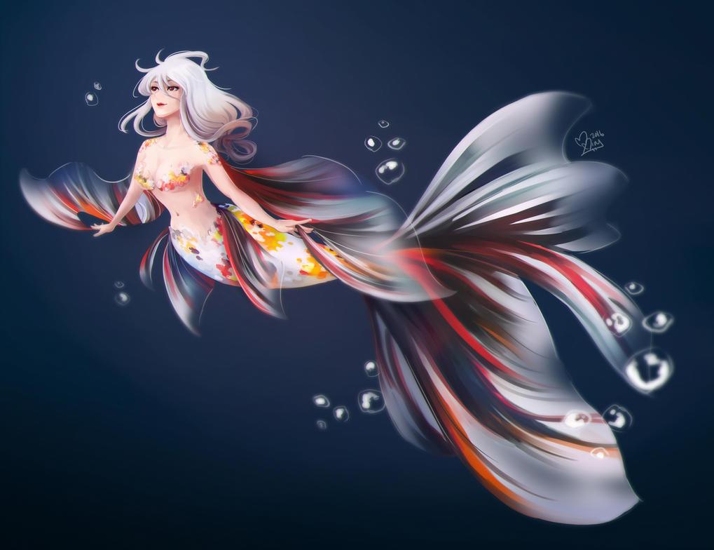 Goldfish Mermaid by MitskiMing