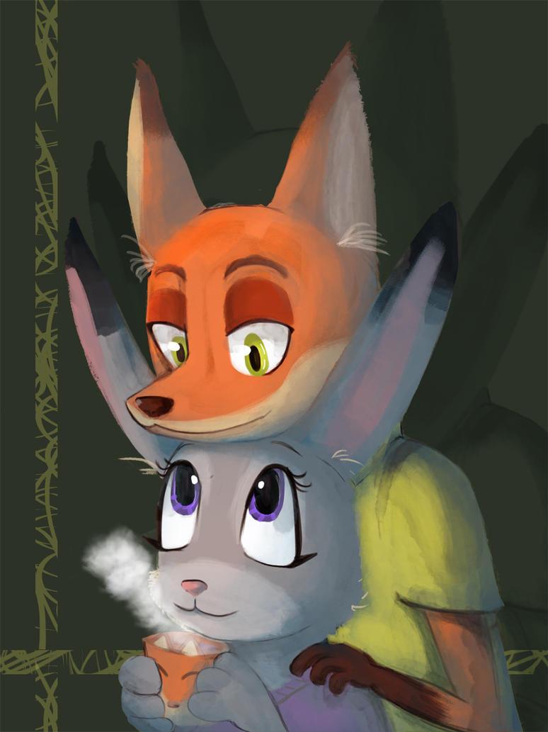Nick And Judy Tea by Kitsunekotaro