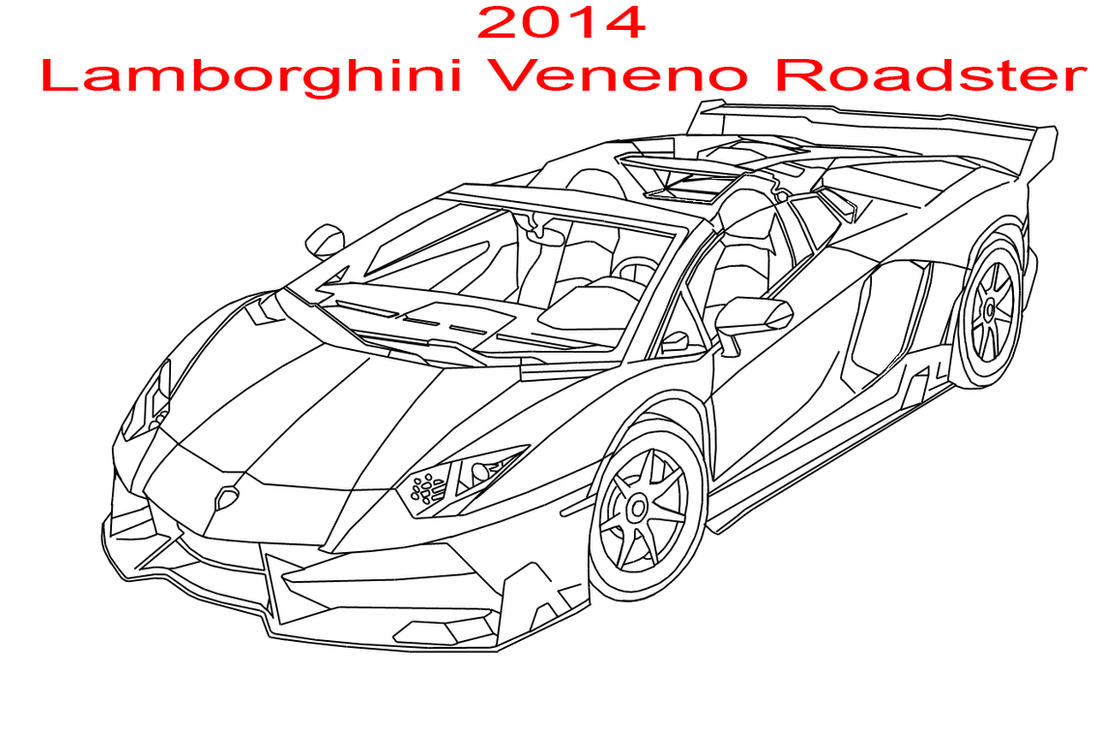 2014 lamborghini veneno roadster line art by for Coloring pages of lamborghini